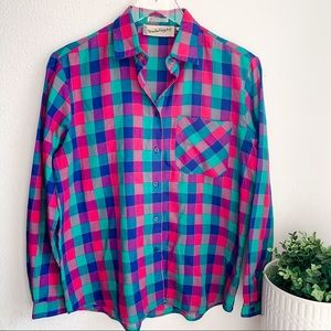 DVF plaid color block style button up